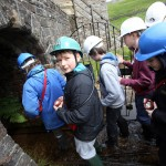 Kids entering the mine