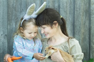 mother and daughter with rabbit